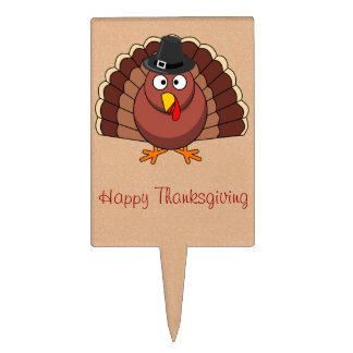 Happy Thanksgiving Cake Toppers - Turkey With Hat