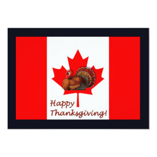 Happy Thanksgiving Canada with flag and turkey 5x7 Paper Invitation Card