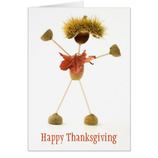 Happy Thanksgiving Card Cute Acorn Stick Man