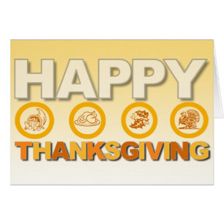 Happy Thanksgiving Card Orange Modern
