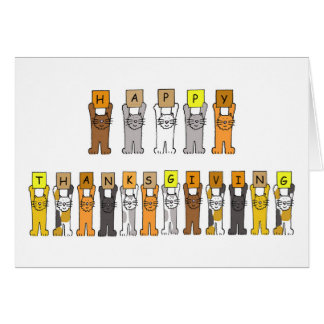 Happy Thanksgiving Cartoon Cats Greeting Cards
