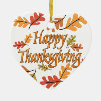 Happy Thanksgiving Ceramic Ornament