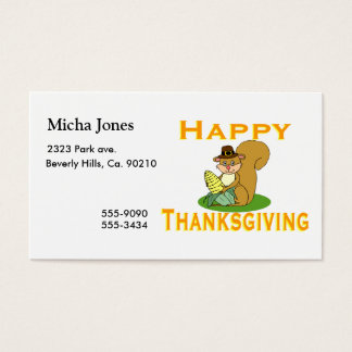 Happy Thanksgiving Chipmunk With Corn Business Card