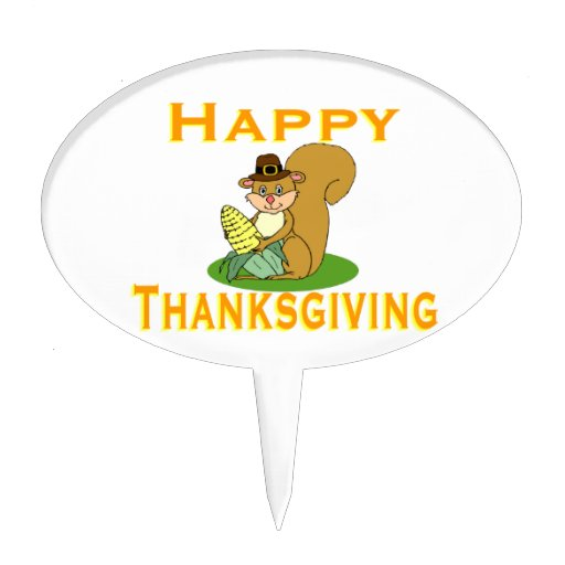 Happy Thanksgiving Chipmunk With Corn Cake Toppers