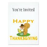 "Happy Thanksgiving Chipmunk With Corn 5"" X 7"" Invitation Card"