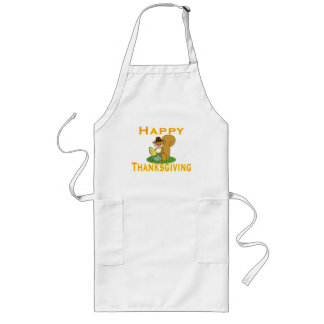 Happy Thanksgiving Chipmunk With Corn Long Apron