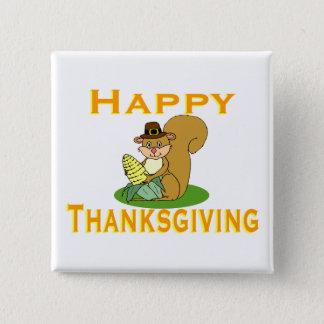 Happy Thanksgiving Chipmunk With Corn Pinback Button