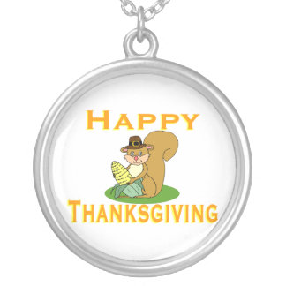 Happy Thanksgiving Chipmunk With Corn Silver Plated Necklace