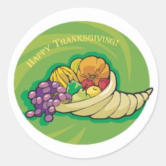 Happy Thanksgiving Cornucopia Classic Round Sticker