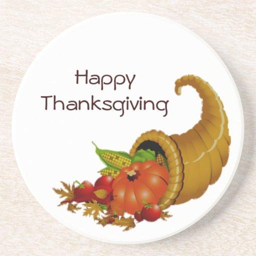 Happy Thanksgiving Cornucopia Round Coasters