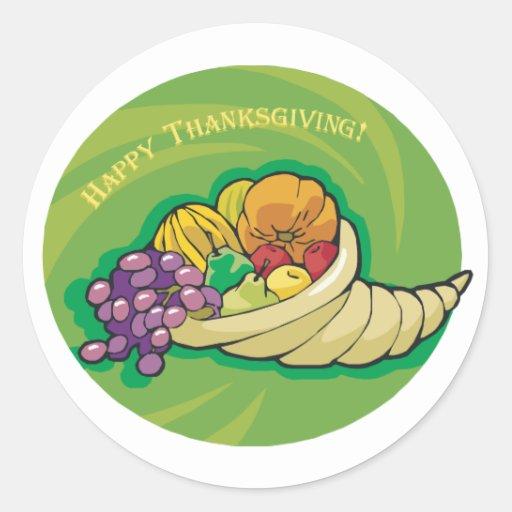 Happy Thanksgiving Cornucopia Round Sticker
