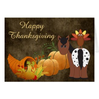 Happy Thanksgiving Cute Appaloosa Horse and Turkey Card