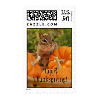 Happy Thanksgiving Cute Chipmunk Postage
