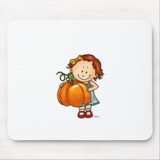 Happy Thanksgiving - Cute Girl with a Huge Pumpkin Mouse Pad