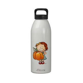 Happy Thanksgiving - Cute Girl with a Huge Pumpkin Water Bottle