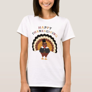 Happy Thanksgiving cute tom turkey women's t-shirt