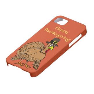 Happy Thanksgiving Cute Turkey Pilgrim Cartoon iPhone 5 Cover