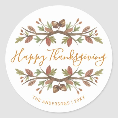 HAPPY THANKSGIVING CUTE WATERCOLOR FALL FOLIAGE CLASSIC ROUND STICKER