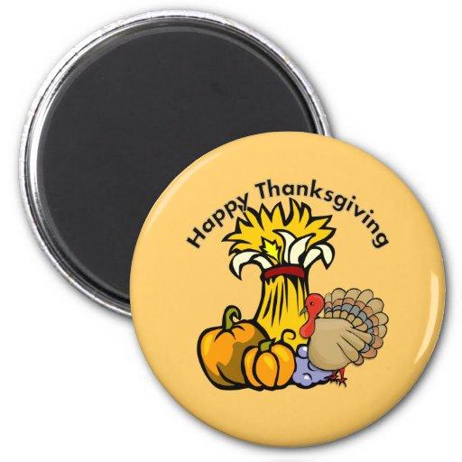 Happy Thanksgiving Day 2 Inch Round Magnet