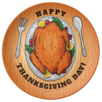 Happy Thanksgiving Day. Dinner Plate