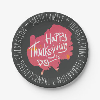 Happy Thanksgiving Day. Family Celebration. Paper Plate