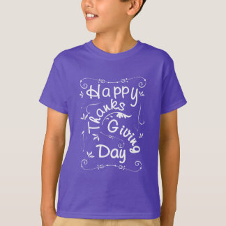 Happy Thanksgiving Day Fancy Typography Script T-Shirt