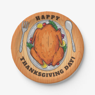Happy Thanksgiving Day. Paper Plate