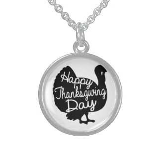 Happy Thanksgiving Day Sterling Silver Necklace
