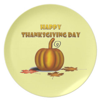 Happy Thanksgiving Day (Yellow) Plate