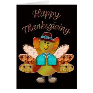 Happy Thanksgiving Designer Pilgrim Turkey Card
