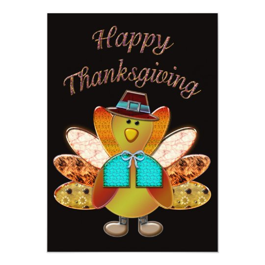 Happy Thanksgiving Designer Pilgrim Turkey Card