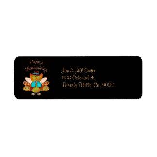 Happy Thanksgiving Designer Pilgrim Turkey Label
