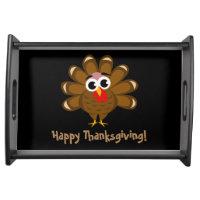 Happy Thanksgiving dinner party cute turkey custom Serving Tray