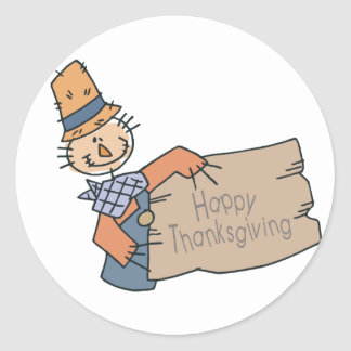 Happy Thanksgiving Doodle Classic Round Sticker