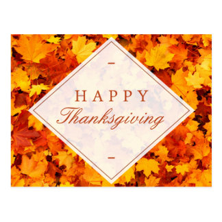 Happy Thanksgiving   Elegant Gold Red Fall Leaves Postcard