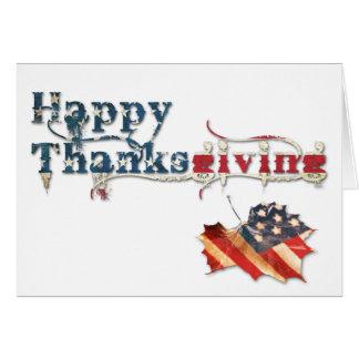 happy thanksgiving (fall flag) card