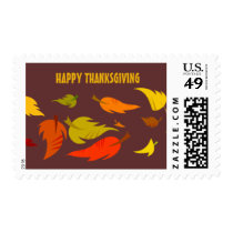 Happy Thanksgiving. Fall Foliage Postage Stamps