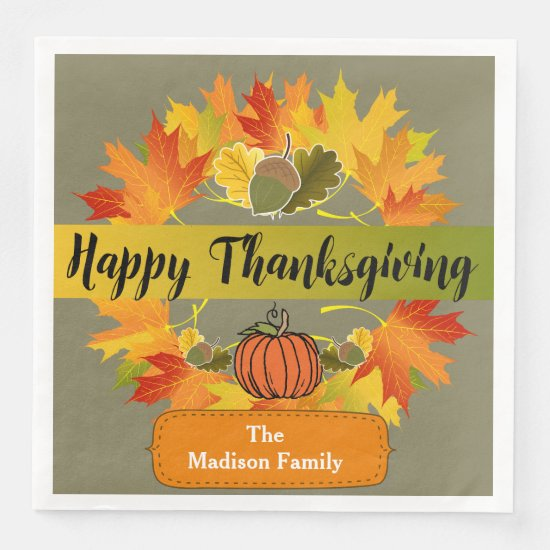 Happy Thanksgiving Fall Leaf Wreath Napkins