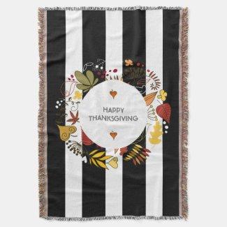 Happy Thanksgiving Fall Wreath & Stripes Throw Blanket