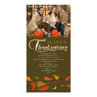 Happy Thanksgiving. Falling Leaves Photo Cards