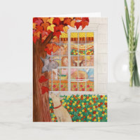 Happy Thanksgiving Family Meal Scene Greeting Cards
