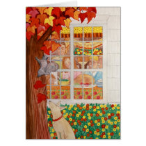 Happy Thanksgiving Family Meal Scene Card