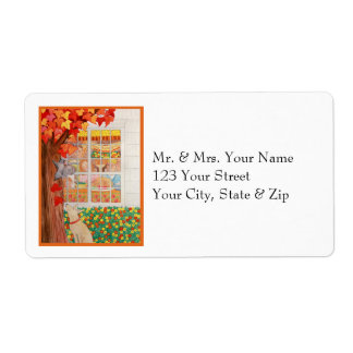 Happy Thanksgiving Family Meal Scene Personalized Shipping Labels