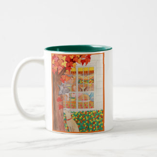 Happy Thanksgiving Family Meal Scene Two-Tone Coffee Mug