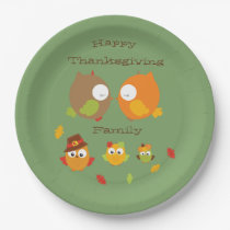 Happy Thanksgiving Family My Little Owl For Fall Paper Plate