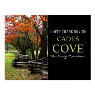 Happy Thanksgiving - Fence Row - Autumn Cades Cove Post Cards