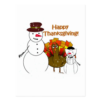 Happy Thanksgiving from Snowy Pilgrims Postcard