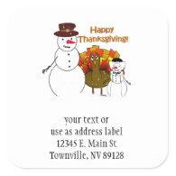 Happy Thanksgiving from Snowy Pilgrims Sticker