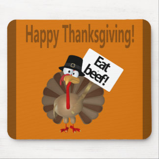 Happy Thanksgiving, Funny Turkey Mouse Pad