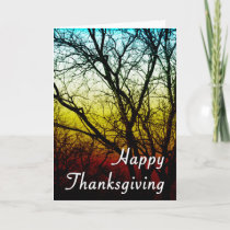 happy thanksgiving ghost tree holiday card